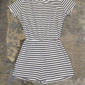 New American Apparel Striped Short Sleeve Romper
